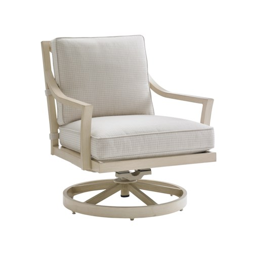 Tommy Bahama Outdoor Living Misty Garden Outdoor Swivel Rocker Lounge Chair with Performance Fabric Upholstery