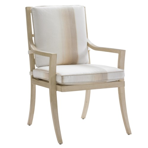 Tommy Bahama Outdoor Living Misty Garden Outdoor Dining Arm Chair with Removable Seat Cushion