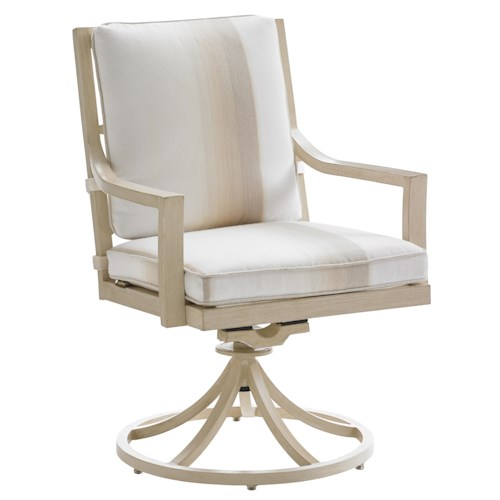 Tommy Bahama Outdoor Living Misty Garden Outdoor Swivel Rocker Dining Chair with Removable Seat Cushion