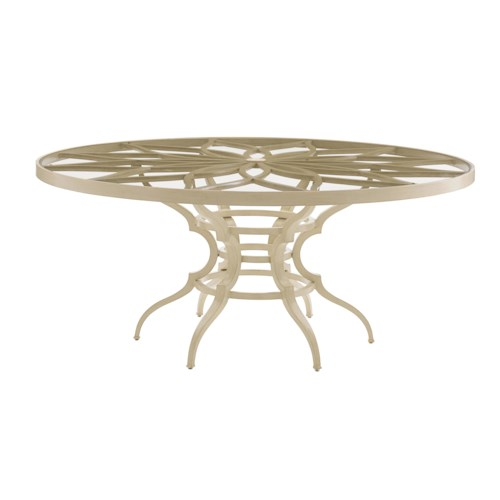 Tommy Bahama Outdoor Living Misty Garden Outdoor Round Dining Table with Petal Design and Glass Top