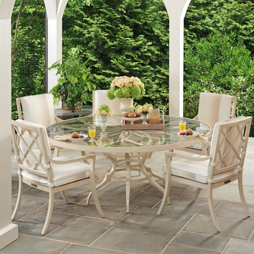 Tommy Bahama Outdoor Living Misty Garden Six Piece Outdoor Dining Set with Round Glass Topped Table