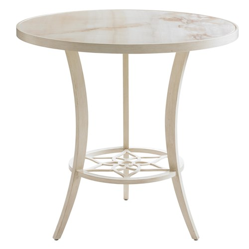 Tommy Bahama Outdoor Living Misty Garden Outdoor Adjustable High / Low Bistro Table with Marbled Porcelain Top