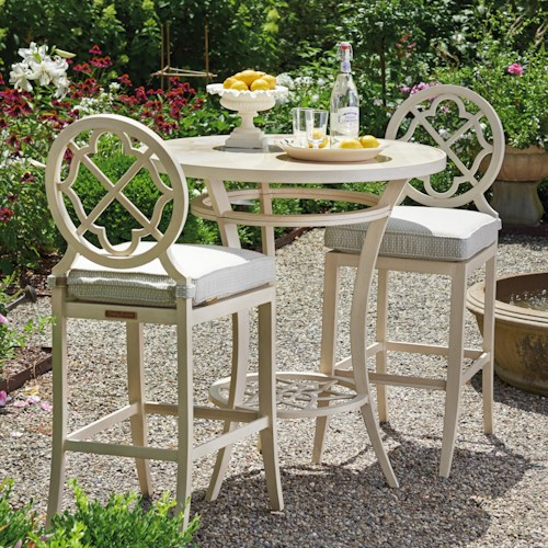 Tommy Bahama Outdoor Living Misty Garden Three Piece Adjustable High / Low Bistro Table with Bar Stools