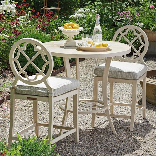 Tommy Bahama Outdoor Living Misty Garden Three Piece Adjustable High / Low Bistro Table with Counter Stools