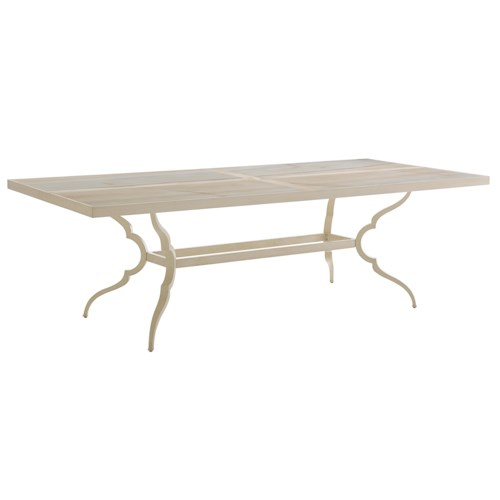 Tommy Bahama Outdoor Living Misty Garden Outdoor Dining Table with Marbled Porcelain Top Inserts