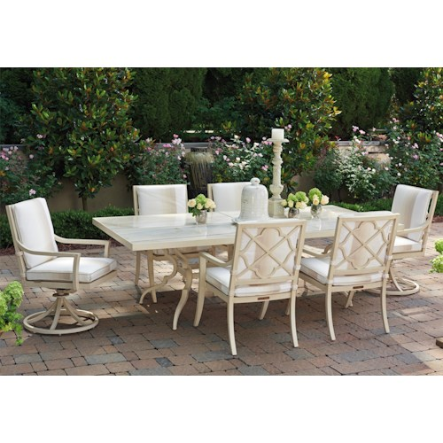 Tommy Bahama Outdoor Living Misty Garden Seven Piece Outdoor Dining Set with Swivel Host Chairs