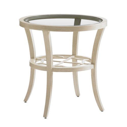 Tommy Bahama Outdoor Living Misty Garden Outdoor Round End Table with Glass Top and Quatrefoil Design