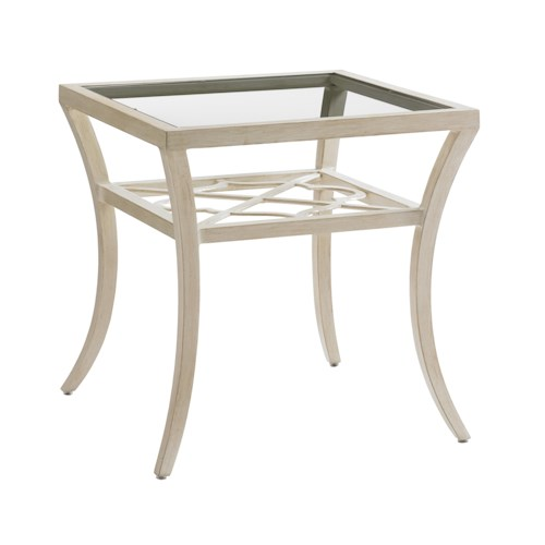 Tommy Bahama Outdoor Living Misty Garden Outdoor Square End Table with Glass Top and Quatrefoil Design
