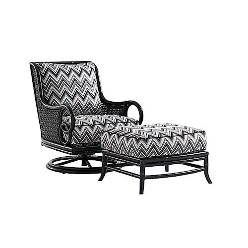 Tommy Bahama Outdoor Living Marimba Outdoor Swivel Rocker Lounge Chair and Ottoman Set