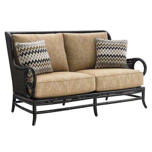 Tommy Bahama Outdoor Living Marimba Outdoor Loveseat with Two Weatherproof Toss Pillows