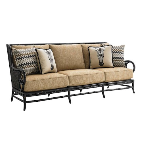 Tommy Bahama Outdoor Living Marimba Outdoor Sofa with Four Weatherproof Toss Pillows