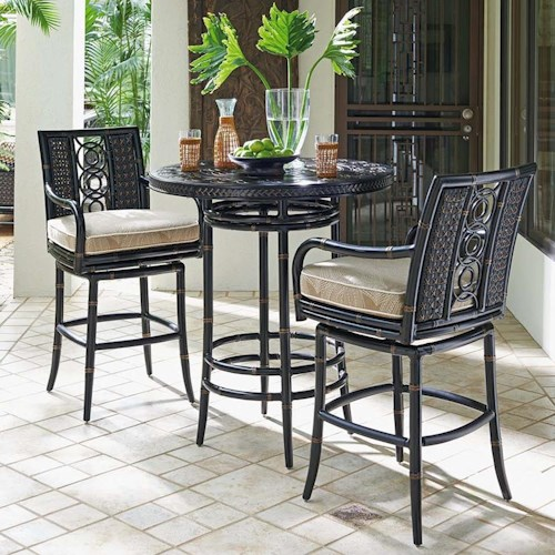 Tommy Bahama Outdoor Living Marimba Outdoor Adjustable High / Low Bistro Table with Bar Stools