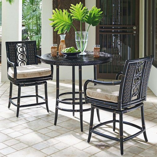 Tommy Bahama Outdoor Living Marimba Outdoor Adjustable High / Low Bistro Table with Counter Stools