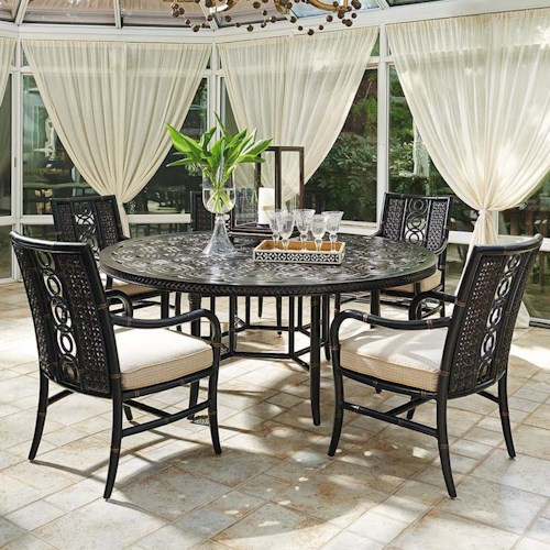 Tommy Bahama Outdoor Living Marimba Six Piece Outdoor Round Dining Table and Chairs Set