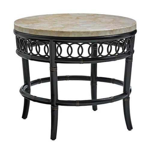 Tommy Bahama Outdoor Living Marimba Outdoor End Table with White Crystal Stone Top