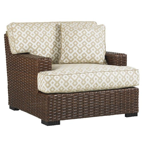 Tommy Bahama Outdoor Living Ocean Club Pacifica Outdoor Woven Rattan Lounge Chair with Block Feet