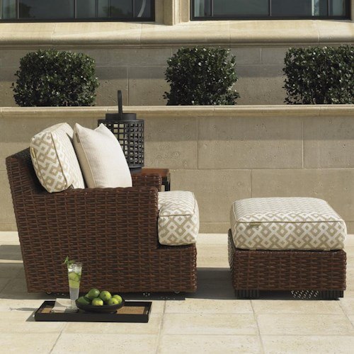 Tommy Bahama Outdoor Living Ocean Club Pacifica Outdoor Woven Rattan Swivel Lounge Chair with Ottman