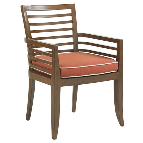 Tommy Bahama Outdoor Living Ocean Club Pacifica Outdoor Dining Arm Chair with Horizontal Line Motif & Seat Cushion