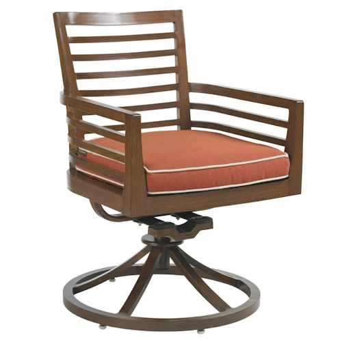 Tommy Bahama Outdoor Living Ocean Club Pacifica Outdoor Swivel Rocker Chair with Horizontal Line Motif & Seat Cushion