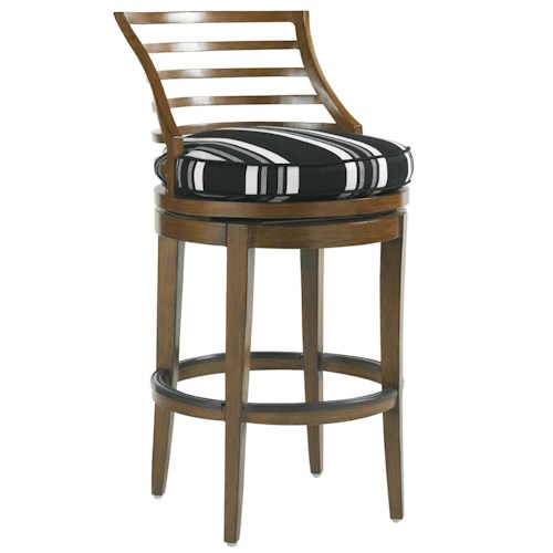 Tommy Bahama Outdoor Living Ocean Club Pacifica Outdoor Swivel Bar Stool with Horizontal Slat Back
