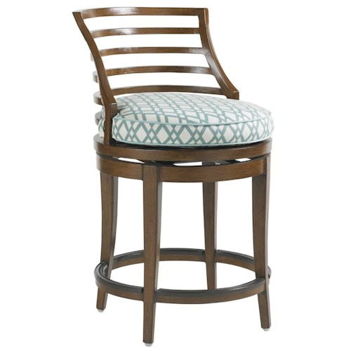 Tommy Bahama Outdoor Living Ocean Club Pacifica Outdoor Swivel Counter Stool with Horizontal Slat Back