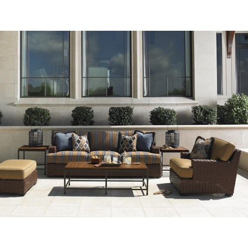 Tommy Bahama Outdoor Living Ocean Club Pacifica 6 Piece Patio Set with Boxed Edge Sofa