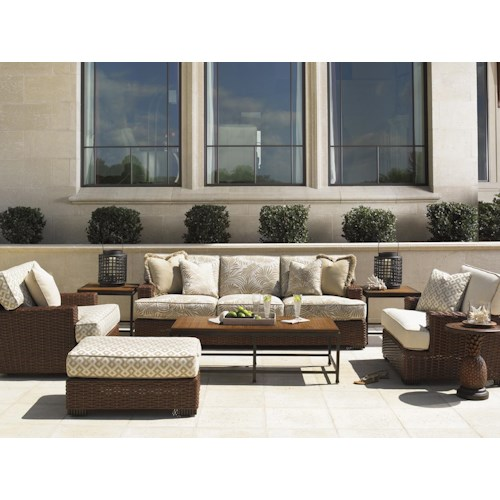 Tommy Bahama Outdoor Living Ocean Club Pacifica 8 Piece Patio Set with Boxed Edge Sofa & Pineapple Accent Table