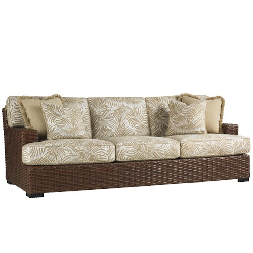 Tommy Bahama Outdoor Living Ocean Club Pacifica Outdoor Boxed Edge Woven Rattan Sofa with Throw Pillows