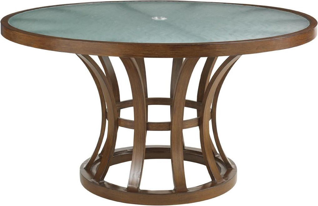 Round Etched Glass Top Table
