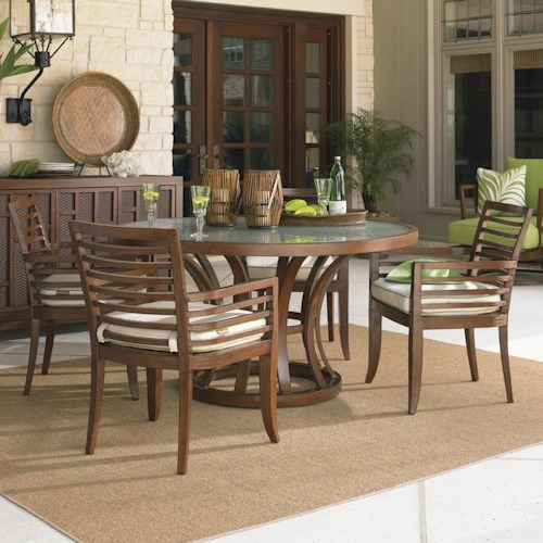 Tommy Bahama Outdoor Living Ocean Club Pacifica 5 Piece Round Dining Table and Horizontal Back Arm Chair Set