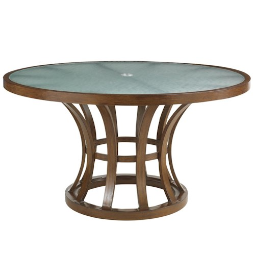 Tommy Bahama Outdoor Living Ocean Club Pacifica 54 Inch Dining Table with Etched Glass Top