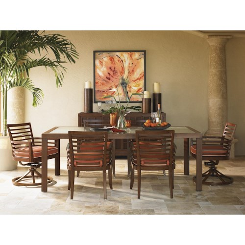 Tommy Bahama Outdoor Living Ocean Club Pacifica 7 Piece Rectangular Dining Table & Horizontal Back Dining Chairs
