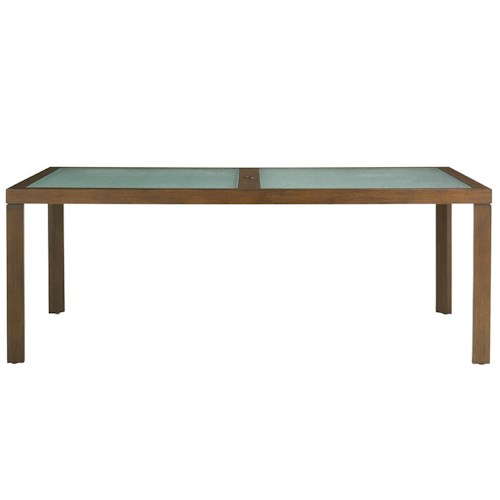 Tommy Bahama Outdoor Living Ocean Club Pacifica 84 Inch Rectangular Dining Table w/ Etched Glass Inserts