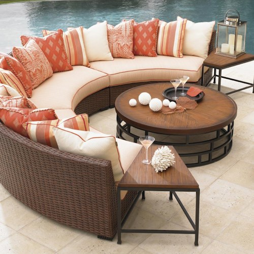 Tommy Bahama Outdoor Living Ocean Club Pacifica 6 Piece Patio Set with Scatterback Curved Sofas & Accent Tables