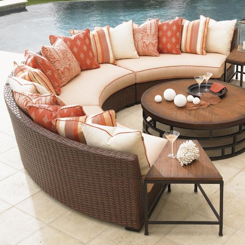 Tommy Bahama Outdoor Living Ocean Club Pacifica 3 Piece Scatterback Armless Curved Sectional Sofa with Woven Rattan Base