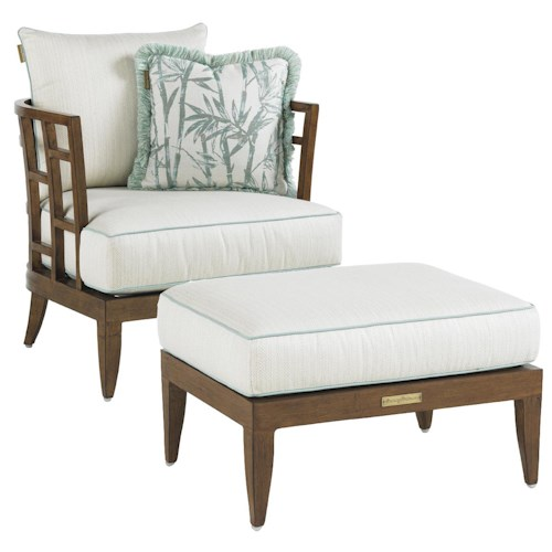 Tommy Bahama Outdoor Living Ocean Club Resort Grid Back Lounge Chair and Ottoman Combination