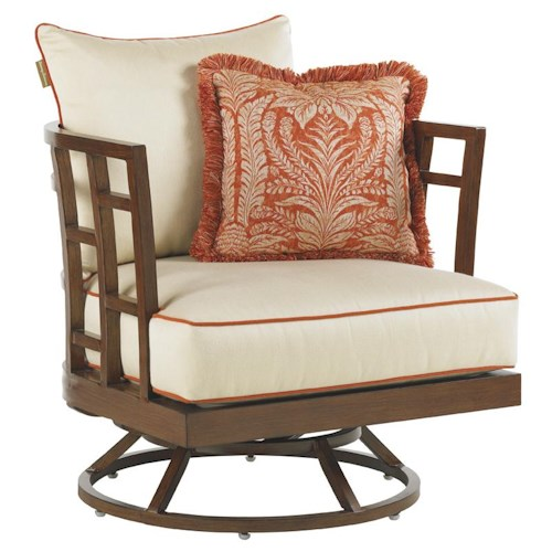 Tommy Bahama Outdoor Living Ocean Club Resort Swivel Grid Back Lounge Chair
