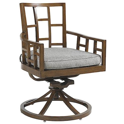 Tommy Bahama Outdoor Living Ocean Club Resort Grid Back Swivel Rocker Dining Chair