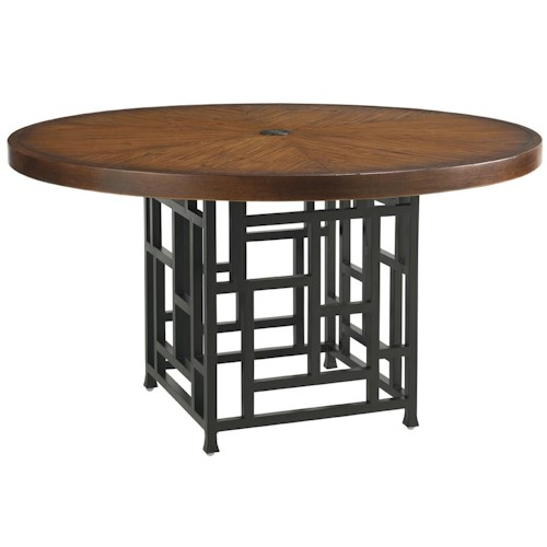 Tommy Bahama Outdoor Living Ocean Club Resort 54-Inch Weatherstone Top Dining Table with Gridded Pedestal Base