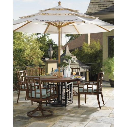 Tommy Bahama Outdoor Living Ocean Club Resort 6 Piece 54-Inch Round Top Table, Mixed Grid Back Chair, and Umbrella Outdoor Dining Set