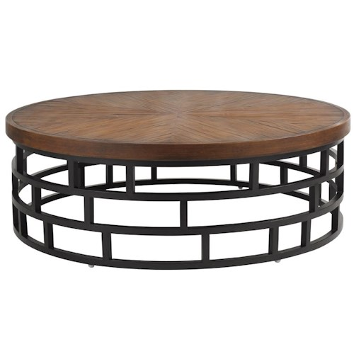 Tommy Bahama Outdoor Living Ocean Club Resort 54-Inch Round Cocktail Table with Weatherstone Top