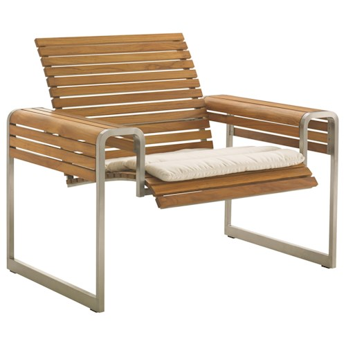 Tommy Bahama Outdoor Living Tres Chic Modern Outdoor Lounge Chair with Slatted Teak Frame and Removable Cushion