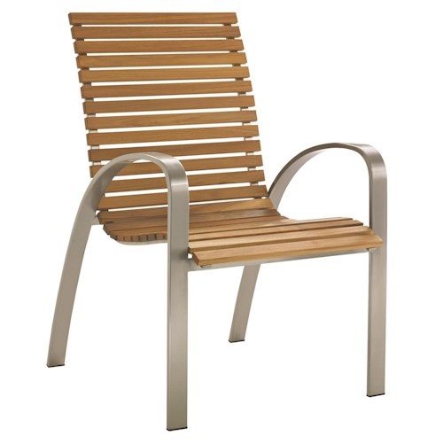 Tommy Bahama Outdoor Living Tres Chic Modern Outdoor Dining Chair with Teak Slat Seat