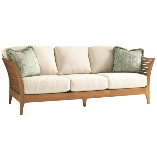 Tommy Bahama Outdoor Living Tres Chic Modern Outdoor Sofa with Slatted Teak Frame