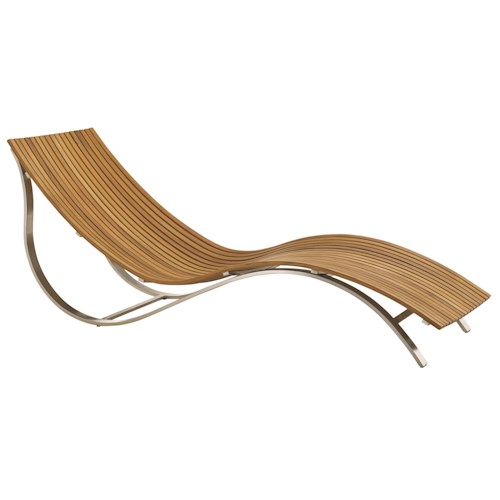 Tommy Bahama Outdoor Living Tres Chic Modern Outdoor Chaise Lounge with Slatted Teak Seat