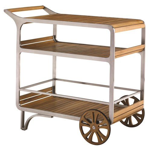 Tommy Bahama Outdoor Living Tres Chic Teak and Stainless Steel Mobile Outdoor Bar Cart