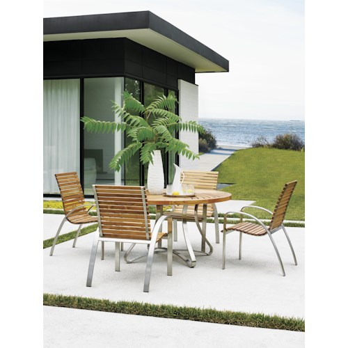 Tommy Bahama Outdoor Living Tres Chic Five Piece Outdoor Dining Set with Round Teak Lattice Table