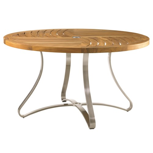 Tommy Bahama Outdoor Living Tres Chic Modern Outdoor Round Dining Table with Pinwheel Lattice Top