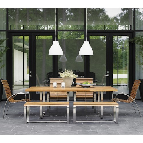 Tommy Bahama Outdoor Living Tres Chic Seven Piece Outdoor Dining Set with Benches