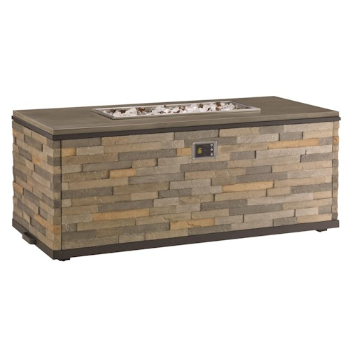 Tommy Bahama Outdoor Living Tres Chic Dual Source Fire Pit with Weatherstone Top and Stacked Weatherstone Base